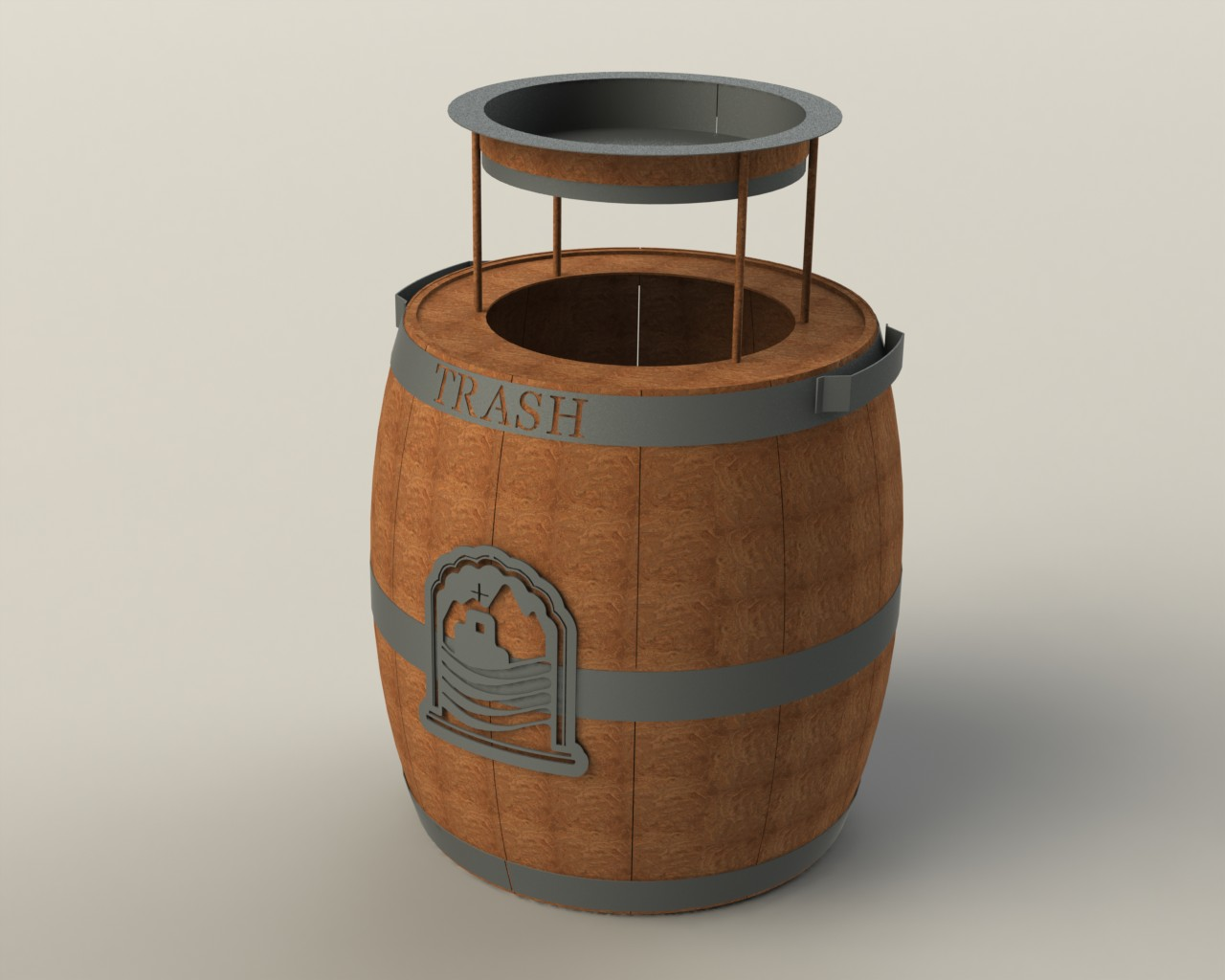 Trash Can - Large with Ashtray -Puerto Los Cabos