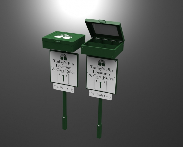 Pin Location Sign with Scorecard Box