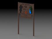 Tee Sign w Hole Layout 2 Square Bar