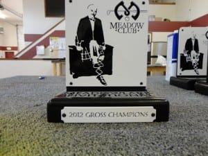 Trophy for the Meadow Clubs Meadowlark Invitational Golf Tournament.