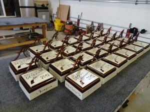 A bunch of golf trophies